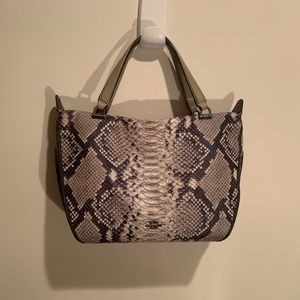 Snakeskin Leather Coach Tote